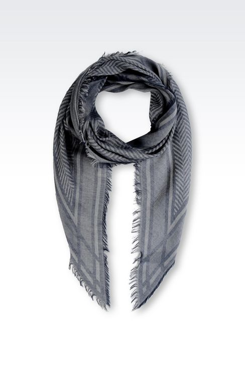 CHEVRON JACQUARD STOLE WITH LOGO: Stoles Men by Armani - 1