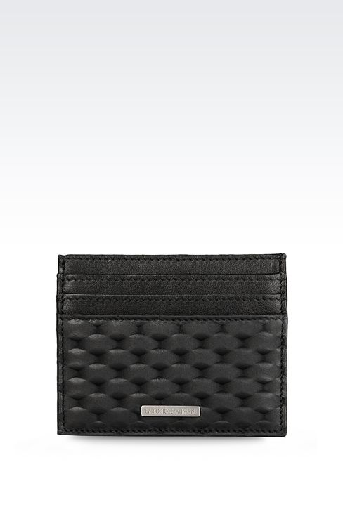CREDIT CARD HOLDER IN CALFSKIN LEATHER: Card holders Men by Armani - 1