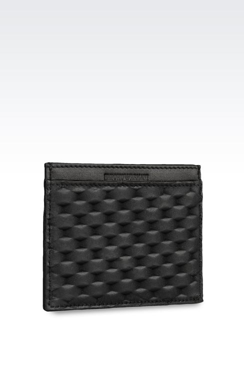 CREDIT CARD HOLDER IN CALFSKIN LEATHER: Card holders Men by Armani - 2