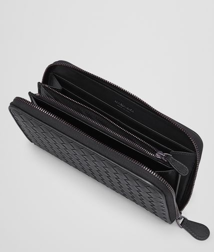 BOTTEGA VENETA - Nero Intrecciato Vachette Zip Around Wallet