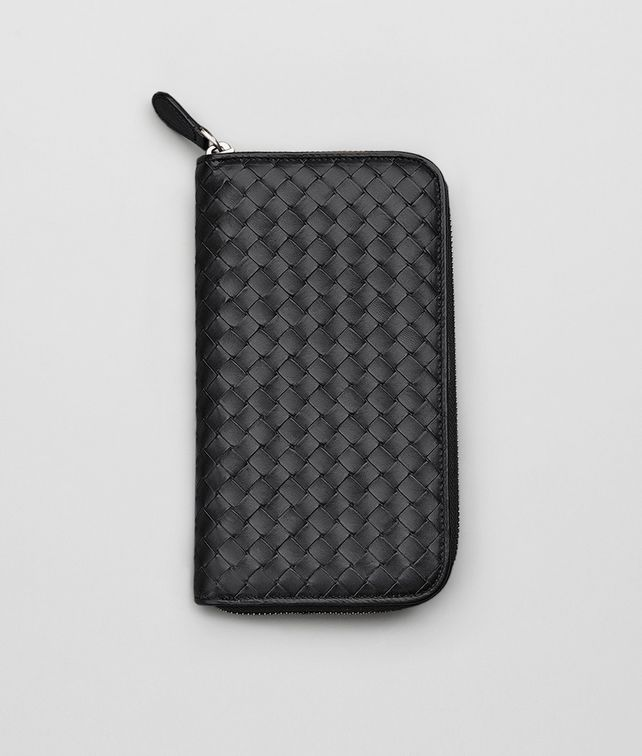 ZIP AROUND WALLET IN NERO CALF INTRECCIATO