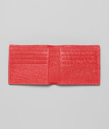 BOTTEGA VENETA - NEW RED INTRECCIATO ANTIQUE OSTRICH WALLET