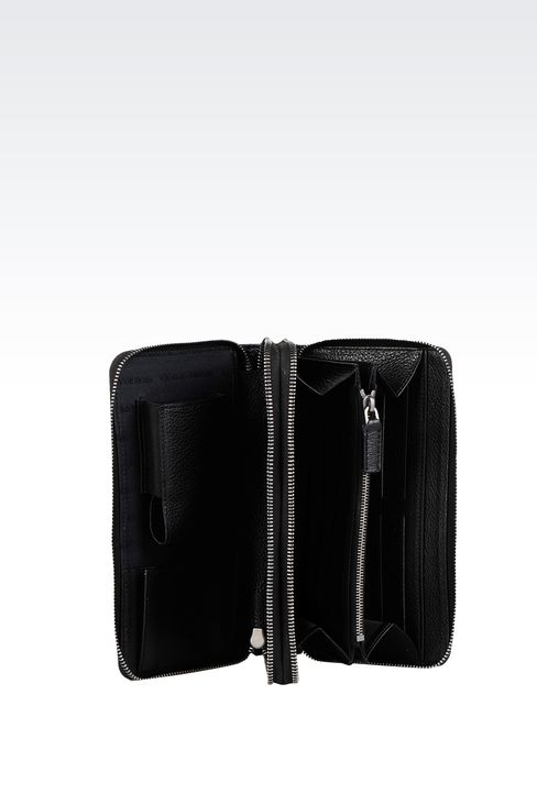 LEATHER DOCUMENT HOLDER WITH FULL ZIP CLOSURE : Document holders Men by Armani - 3