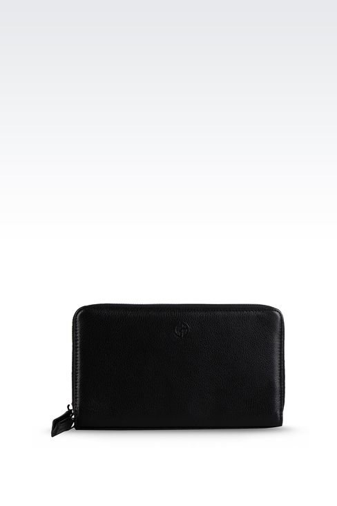 LEATHER DOCUMENT HOLDER WITH FULL ZIP CLOSURE : Document holders Men by Armani - 1