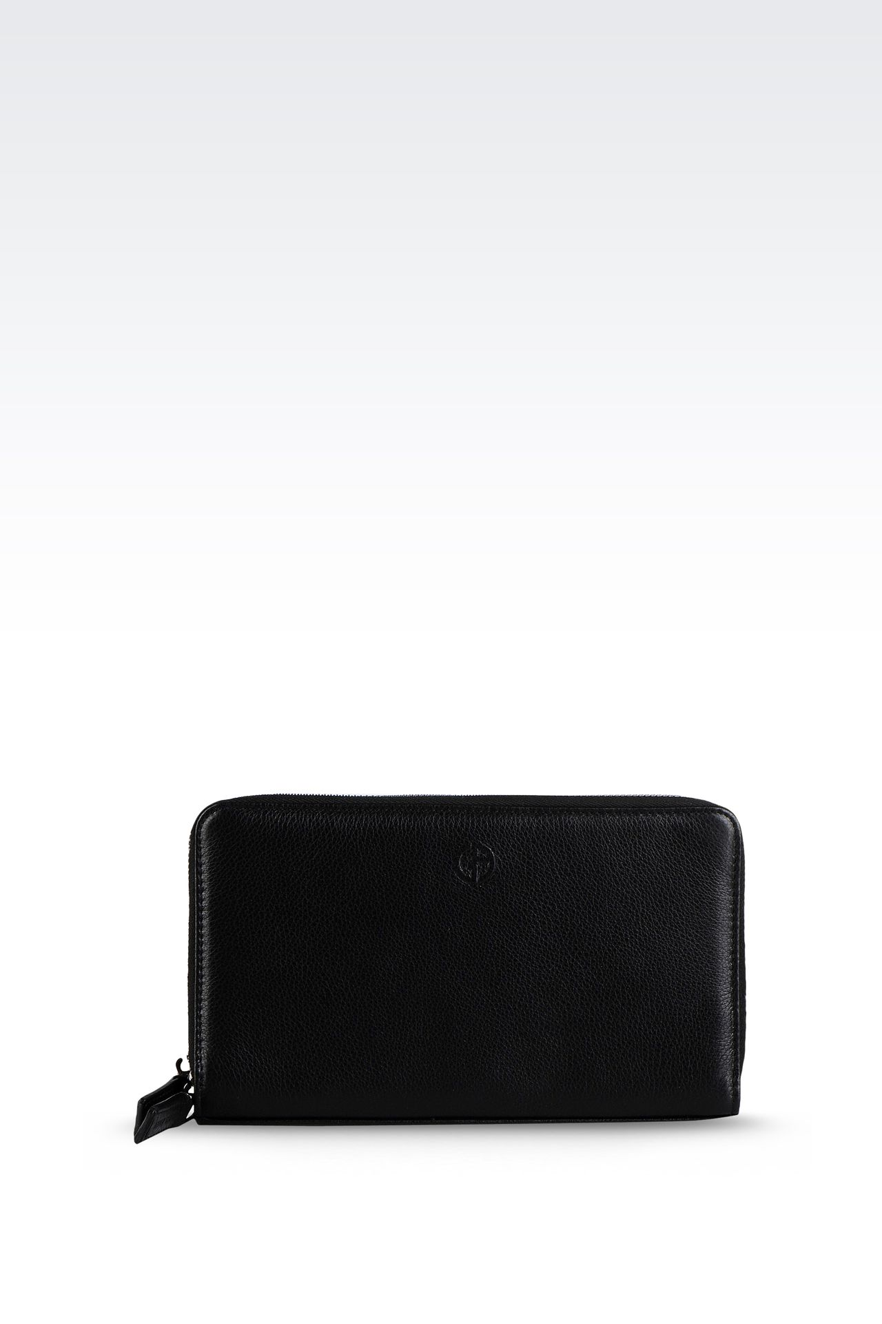 LEATHER DOCUMENT HOLDER WITH FULL ZIP CLOSURE : Document holders Men by Armani - 0