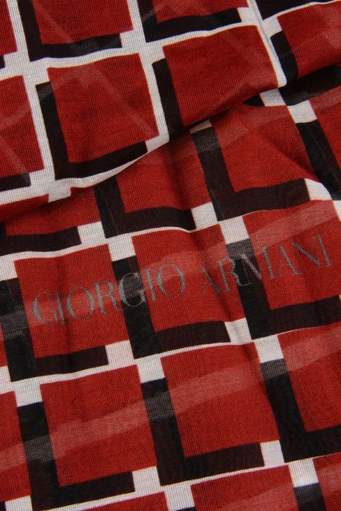 COTTON AND SILK STOLE WITH CHECK PATTERN: Scarves Men by Armani - 3