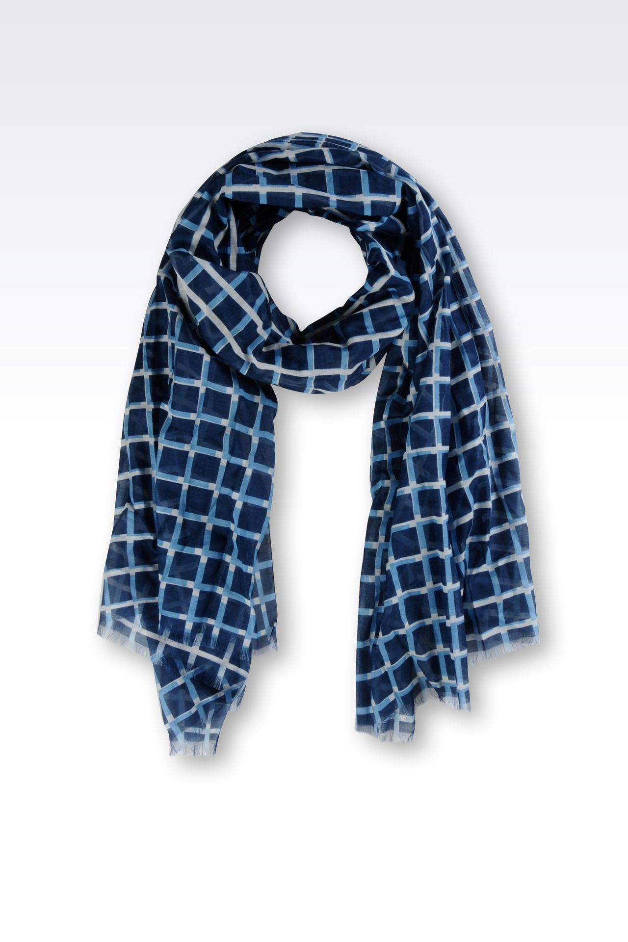 COTTON AND SILK STOLE WITH CHECK PATTERN: Scarves Men by Armani - 0