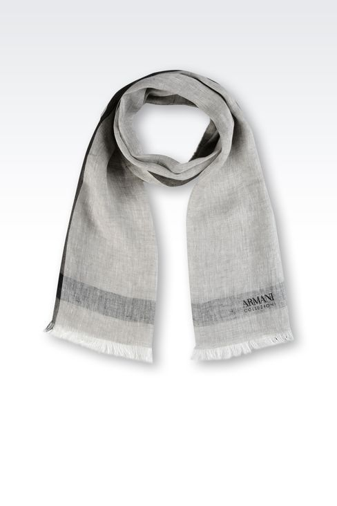 LINEN STOLE WITH LOGO: Scarves Men by Armani - 1