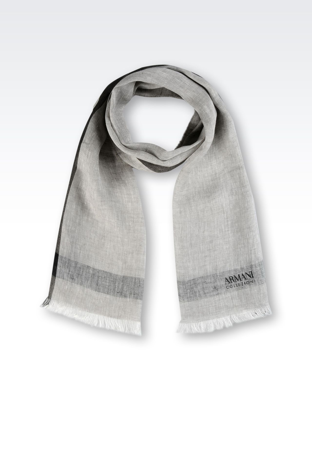 LINEN STOLE WITH LOGO: Scarves Men by Armani - 0