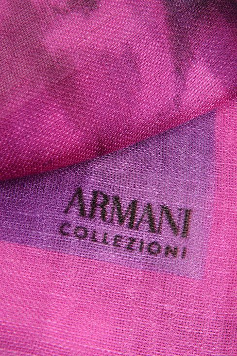PRINTED SILK AND LINEN STOLE: Stoles Women by Armani - 3