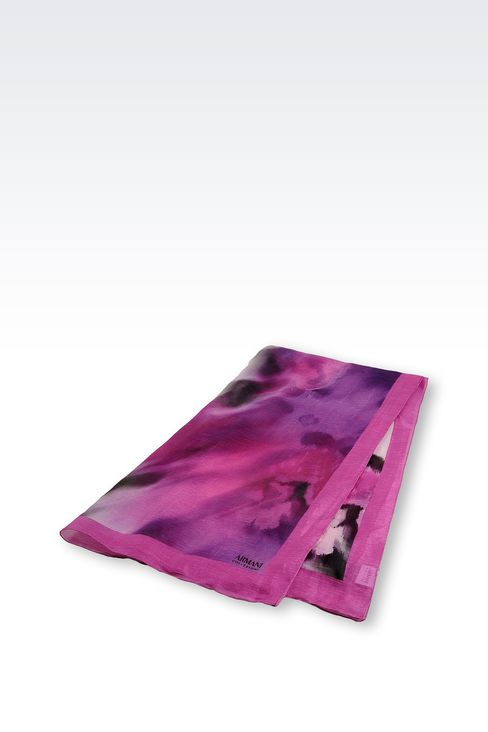 PRINTED SILK AND LINEN STOLE: Stoles Women by Armani - 2