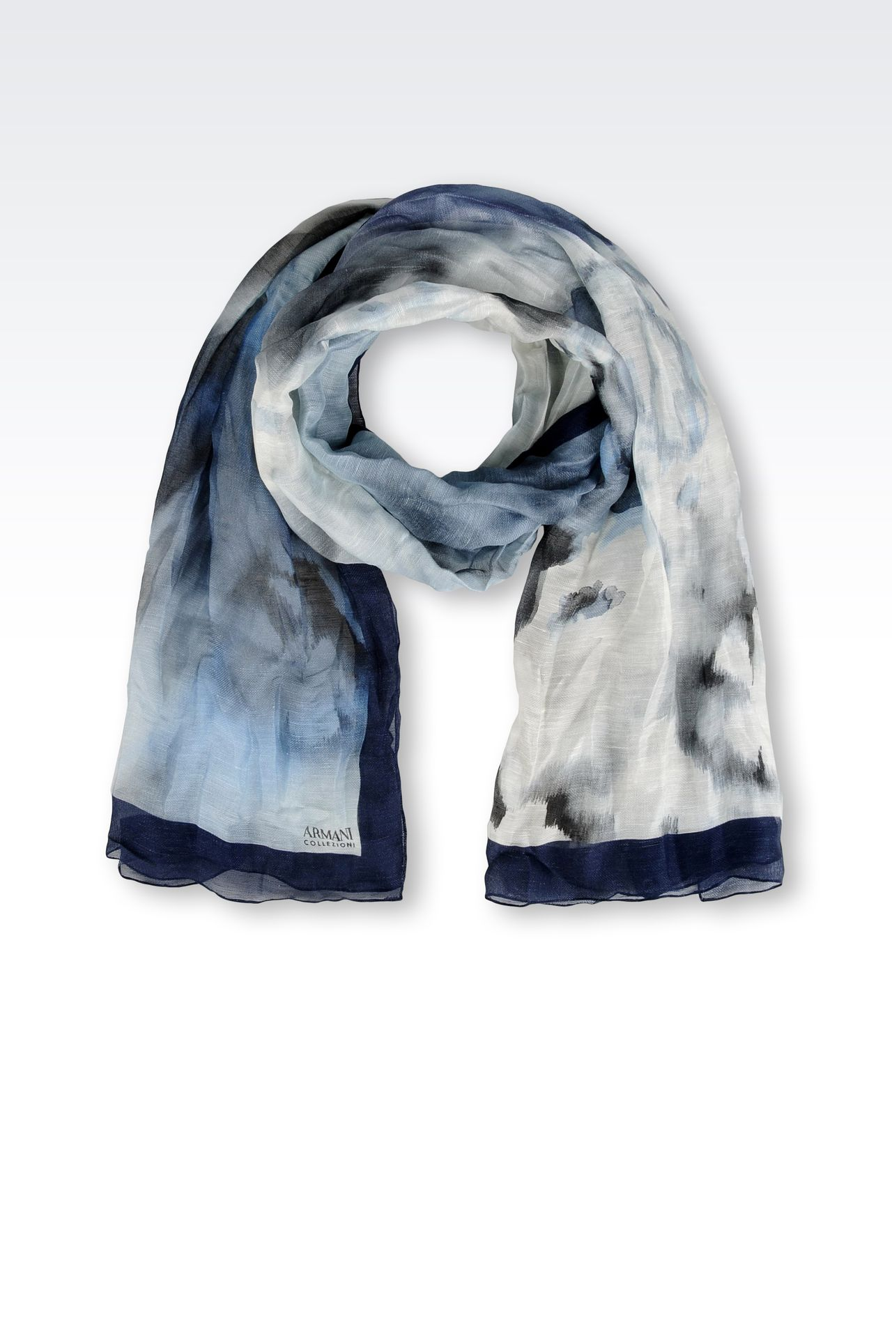 PRINTED SILK AND LINEN STOLE: Stoles Women by Armani - 0