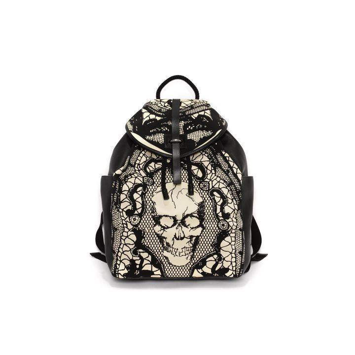 Alexander McQueen, Skull Lace Print Back-Pack