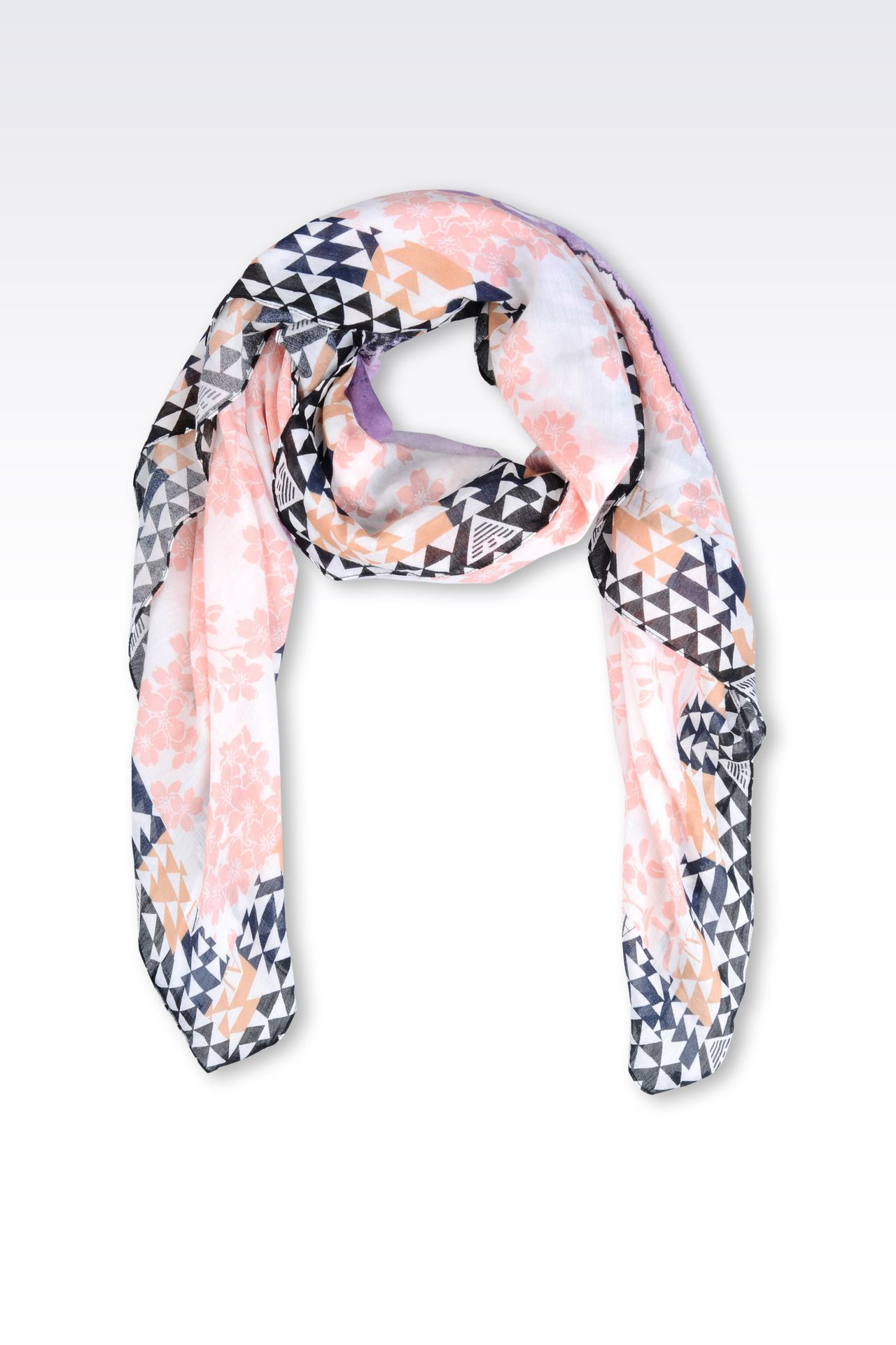 SCARF IN PRINTED COTTON AND SILK: Foulards Women by Armani - 0