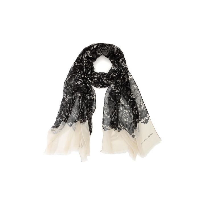 Alexander McQueen, Oval Skull Lace Print Scarf