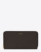 LARGE Toile Monogram CLASSIC ZIP AROUND WALLET IN BLACK printed CANVAS AND LEATHER
