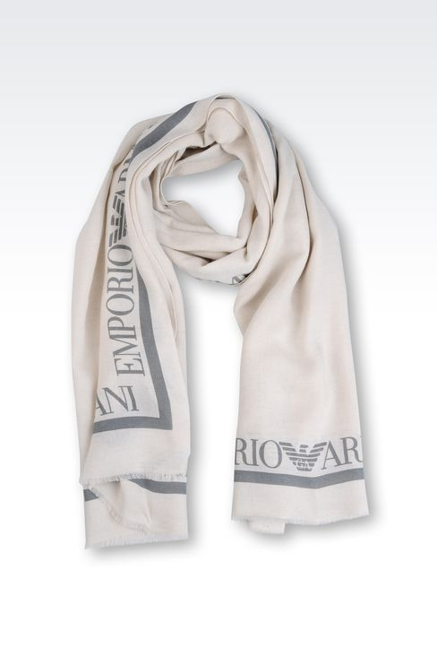 STOLE WITH CONTRASTING COLOR LOGO: Stoles Men by Armani - 1