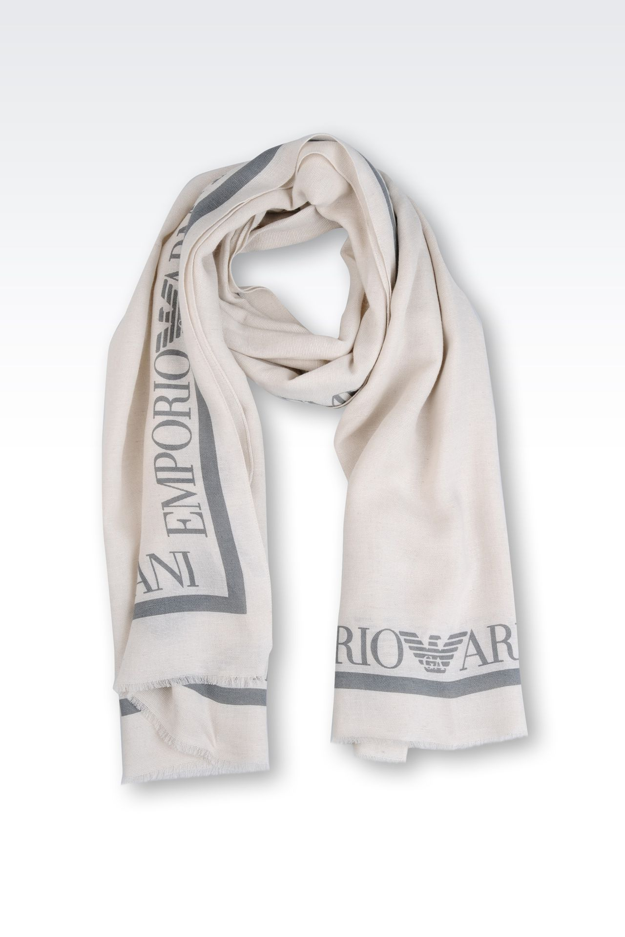 STOLE WITH CONTRASTING COLOR LOGO: Stoles Men by Armani - 0