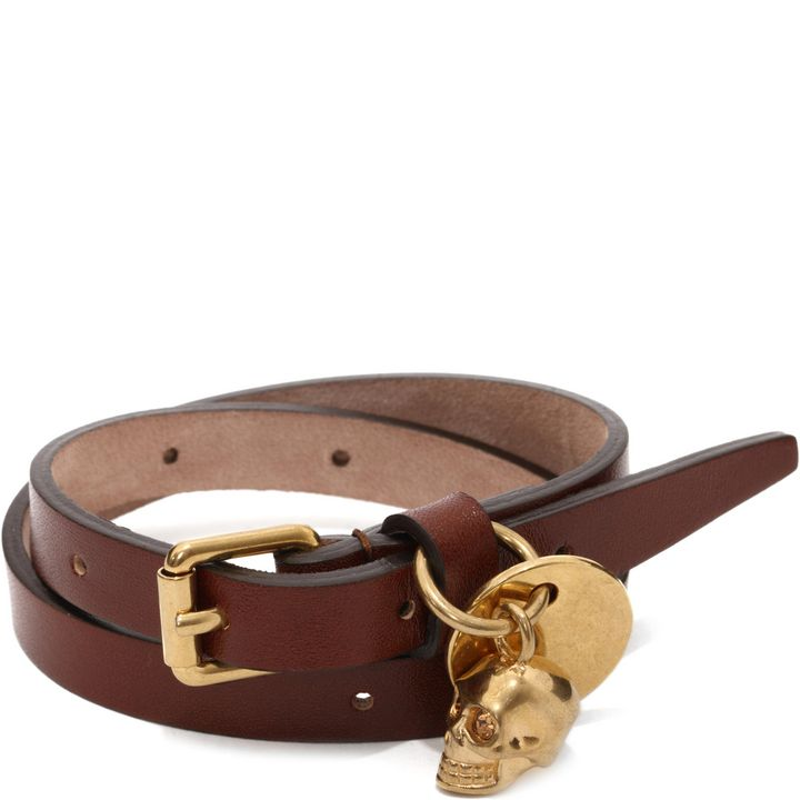 Alexander McQueen, Leather Double Wrap Skull Bracelet