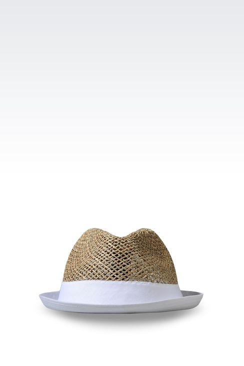 NARROW-BRIMMED STRAW HAT: Hats Men by Armani - 1
