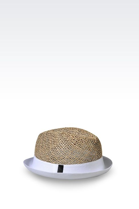 NARROW-BRIMMED STRAW HAT: Hats Men by Armani - 2