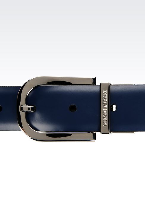 REVERSIBLE BELT IN SAFFIANO CALFSKIN AND SMOOTH CALFSKIN: Leather belts Men by Armani - 3