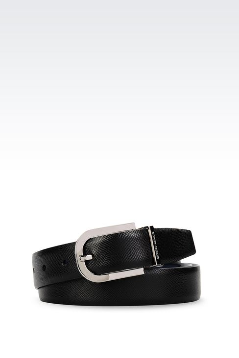 REVERSIBLE BELT IN SAFFIANO CALFSKIN AND SMOOTH CALFSKIN: Leather belts Men by Armani - 4