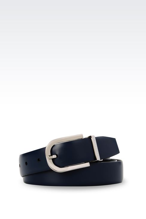 REVERSIBLE BELT IN SAFFIANO CALFSKIN AND SMOOTH CALFSKIN: Leather belts Men by Armani - 1