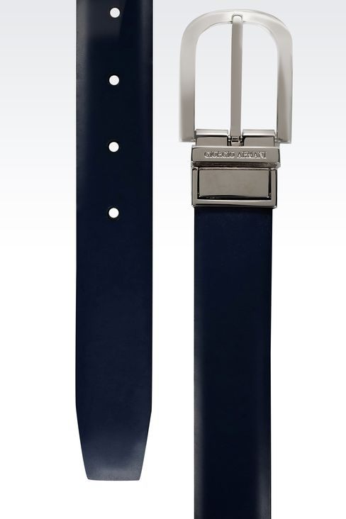 REVERSIBLE BELT IN SAFFIANO CALFSKIN AND SMOOTH CALFSKIN: Leather belts Men by Armani - 2