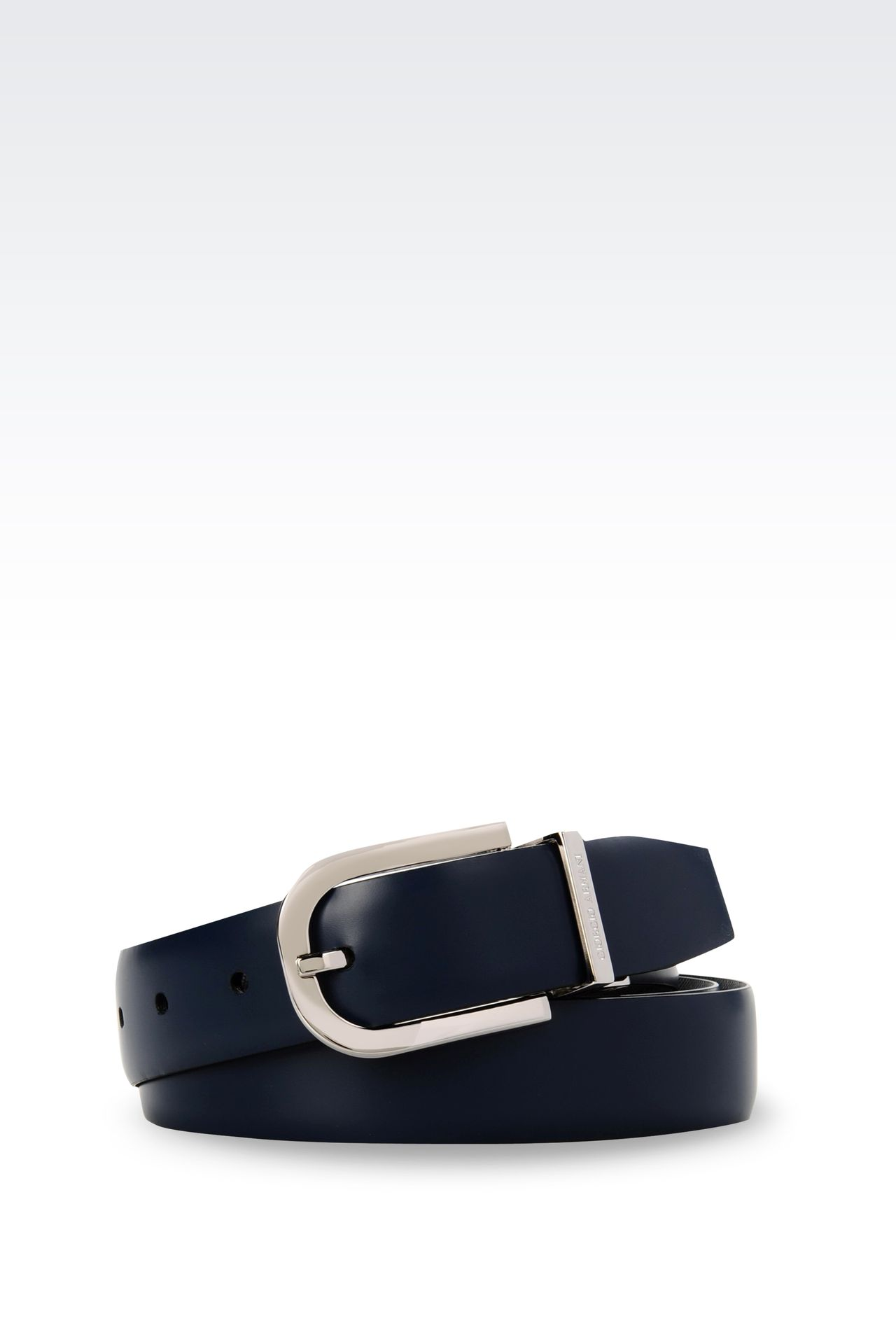 REVERSIBLE BELT IN SAFFIANO CALFSKIN AND SMOOTH CALFSKIN: Leather belts Men by Armani - 0
