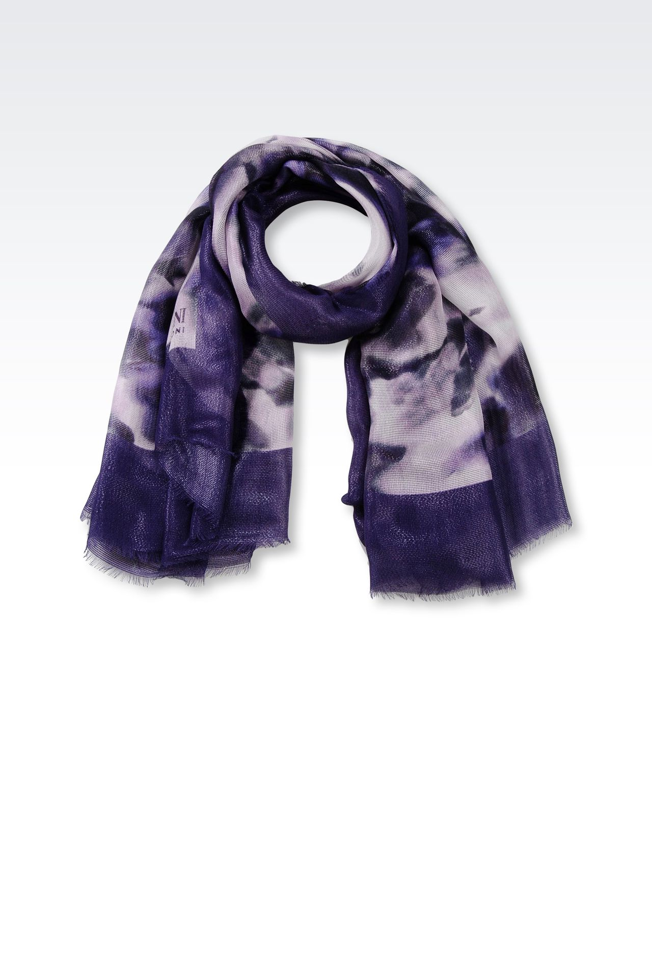 MODAL BLEND SCARF WITH MULTICOLORED DESIGN: Foulards Women by Armani - 0