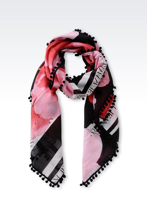 FLORAL-PRINT SCARF WITH TASSELS: Foulards Women by Armani - 1