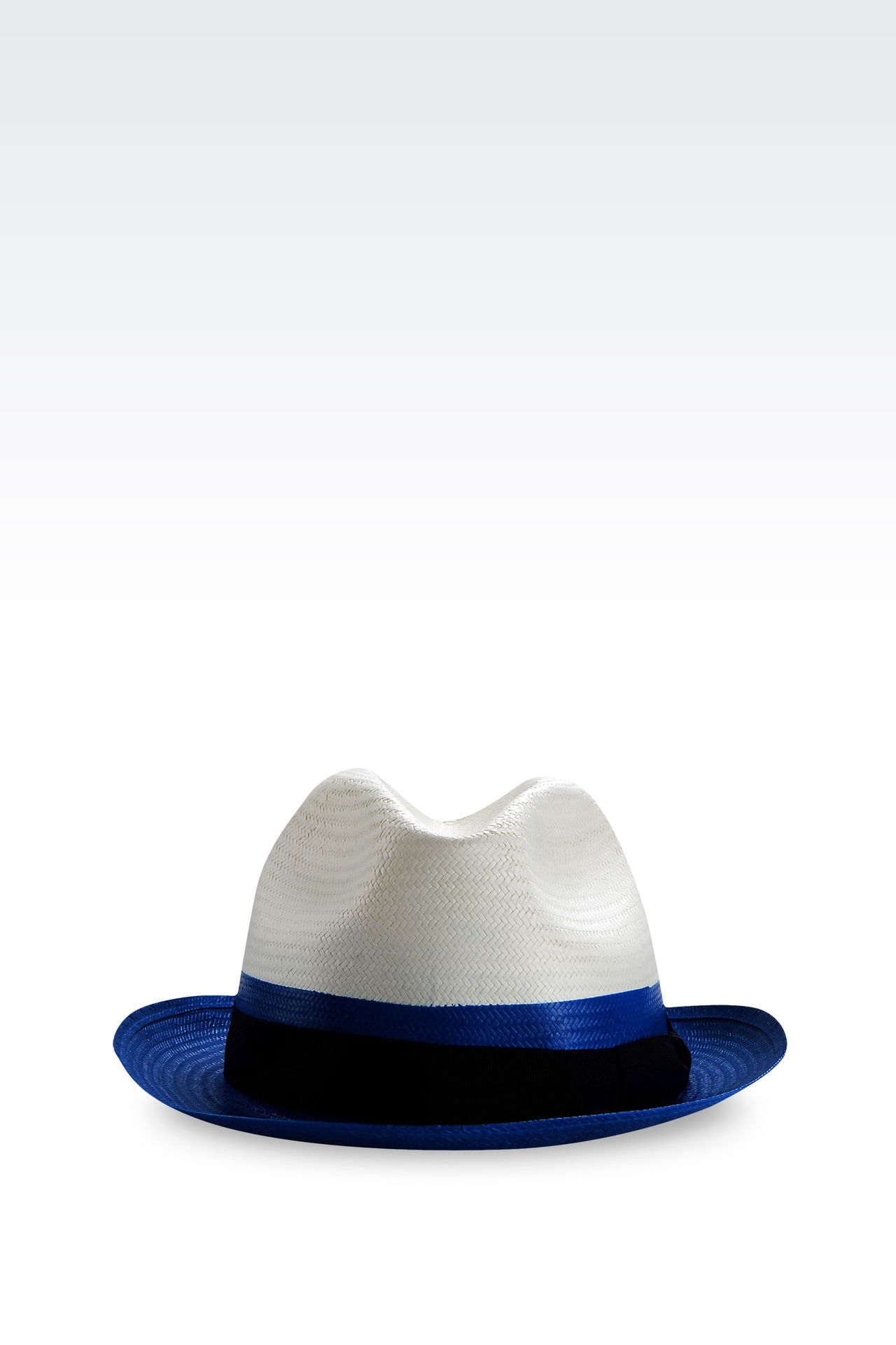 NARROW-BRIMMED HAT WITH GROSGRAIN BAND: Hats Men by Armani - 0