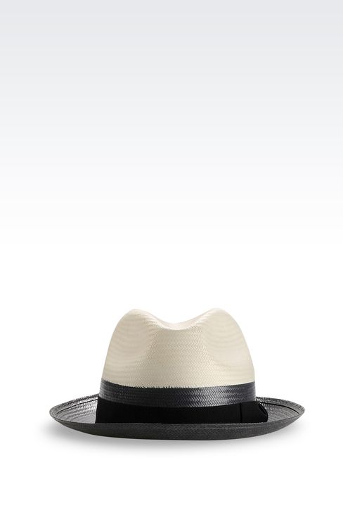 NARROW-BRIMMED HAT WITH GROSGRAIN BAND: Hats Men by Armani - 1