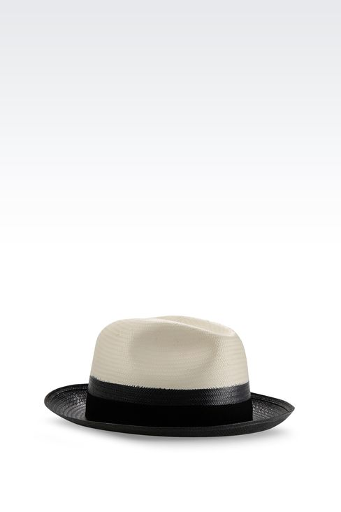 NARROW-BRIMMED HAT WITH GROSGRAIN BAND: Hats Men by Armani - 2