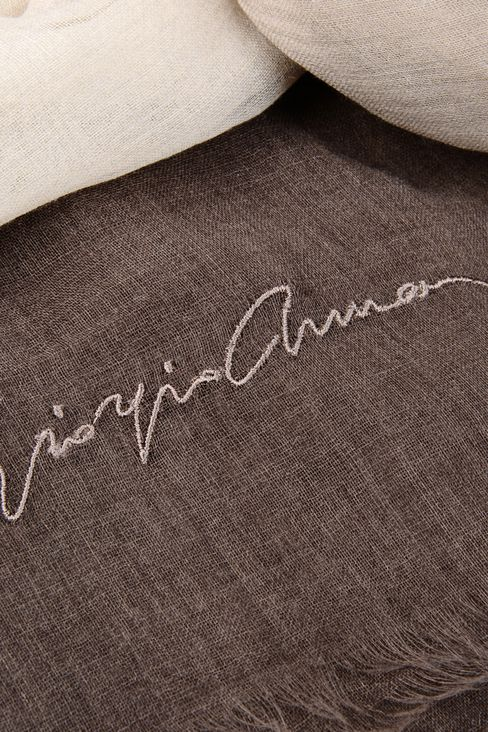 CASHMERE SCARF WITH EMBROIDERED LOGO: Stoles Women by Armani - 3
