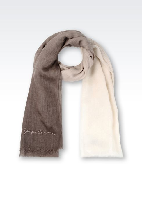 CASHMERE SCARF WITH EMBROIDERED LOGO: Stoles Women by Armani - 1
