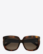 Saint Laurent 15 sunglasses in havana METAL and grey shaded lenses