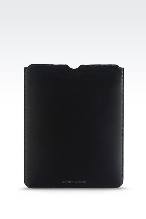 PRINTED CALFSKIN TABLET CASE: iPad holders Men by Armani - 1