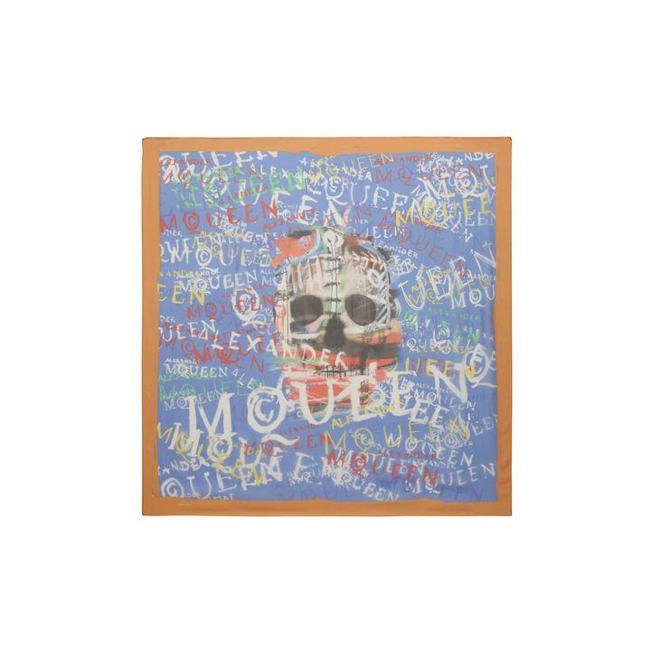 Alexander McQueen, Graffiti Skull Print Silk Scarf