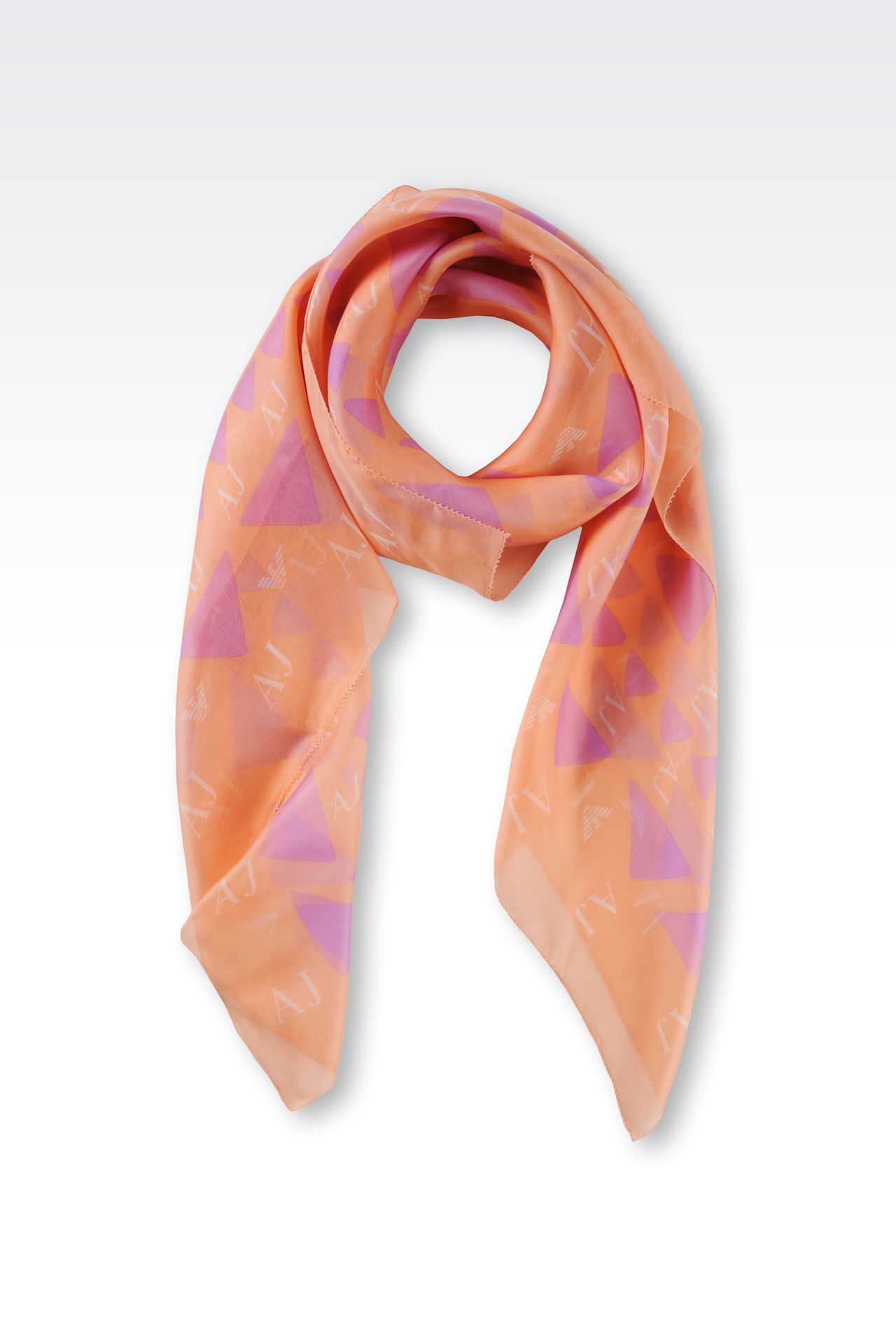 SILK SCARF WITH GEOMETRIC PATTERN: Foulards Women by Armani - 0