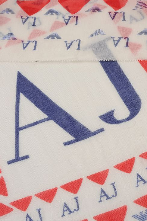 SCARF WITH GEOMETRIC DESIGN AND LOGO: Scarves Women by Armani - 3