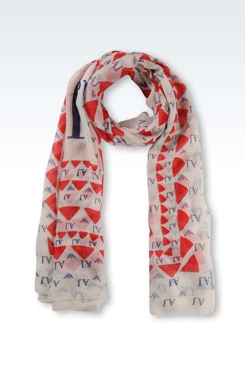 SCARF WITH GEOMETRIC DESIGN AND LOGO: Scarves Women by Armani - 1