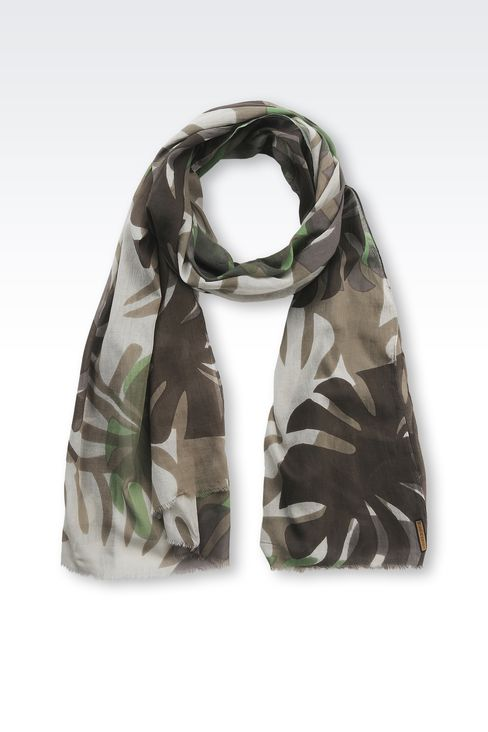PRINTED COTTON SCARF: Scarves Men by Armani - 1