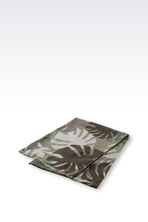 PRINTED COTTON SCARF: Scarves Men by Armani - 2