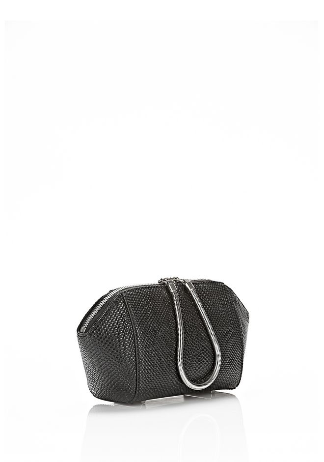ALEXANDER WANG SMALL CHASTITY MAKE UP POUCH IN BLACK SMALL LEATHER GOOD Adult 12_n_e