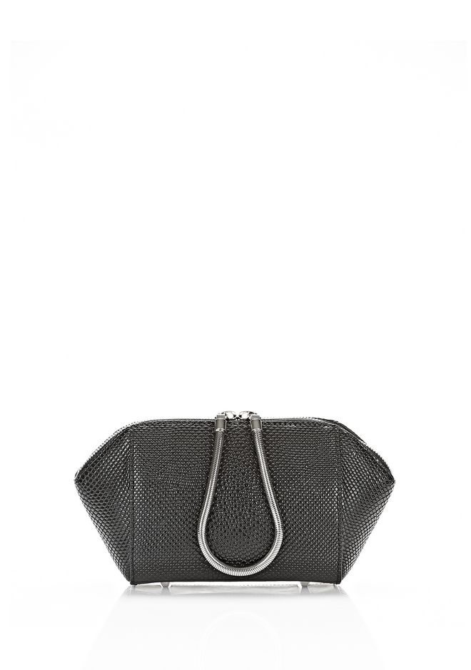 ALEXANDER WANG SMALL CHASTITY MAKE UP POUCH IN BLACK SMALL LEATHER GOOD Adult 12_n_f