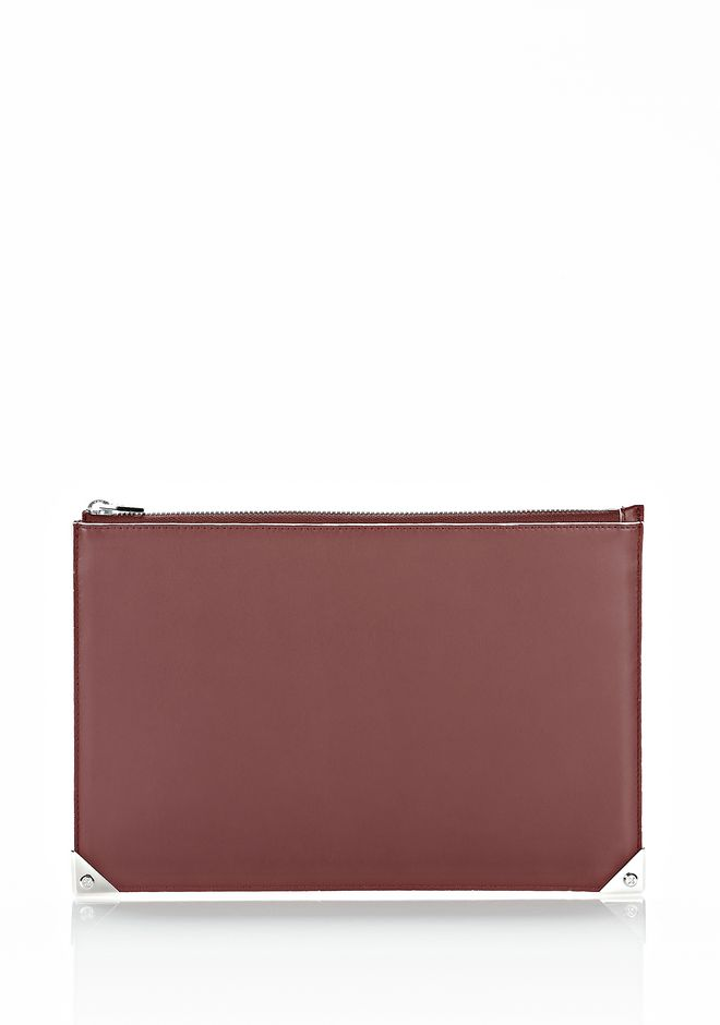 ALEXANDER WANG PRISMA FLAT POUCH IN CORDOVAN SOFT DRAPE CALF WITH RHODIUM SMALL LEATHER GOOD Adult 12_n_d