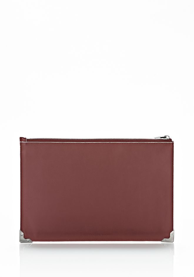 ALEXANDER WANG PRISMA FLAT POUCH IN CORDOVAN SOFT DRAPE CALF WITH RHODIUM