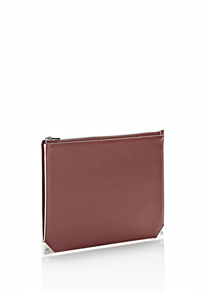 ALEXANDER WANG PRISMA FLAT POUCH IN CORDOVAN SOFT DRAPE CALF WITH RHODIUM SMALL LEATHER GOOD Adult 12_n_r